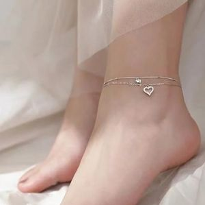 NEW 925 STERLING SILVER PLATE DIAMOND HEART ANKLET